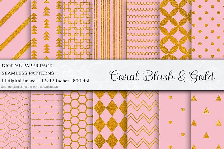 Coral Blush Digital Papers, Blush Seamless Pattern, Blush