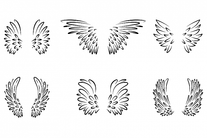 Cartoon wings set collection.