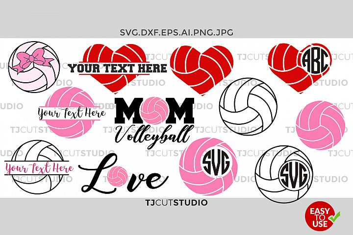 Volleyball Monogram svg, split volleyball, Love Volleyball, Mom Volleyball, Files for Silhouette Cameo or Cricut, Commercial & Personal Use.