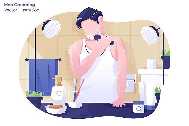 Men Grooming - Vector Illustration