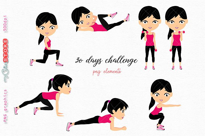 Woman 30 days challenge workout png elements