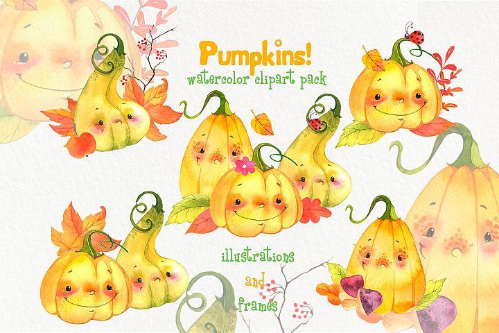 Cute watercolor pumpkins clipart. Fall clip art