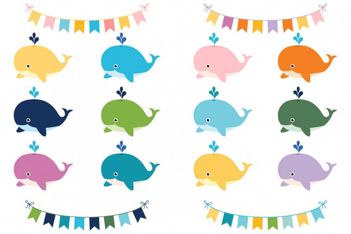 Cute colorful whales clip art set, Sea animals and buntings