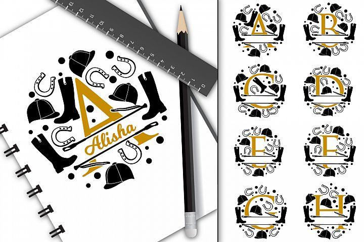 Split letters A-Z horse riding, alphabet, cut/sublimation