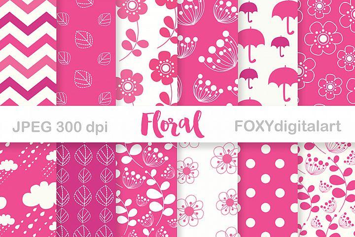 Digital paper pink flowers scrapbook floral wedding invite