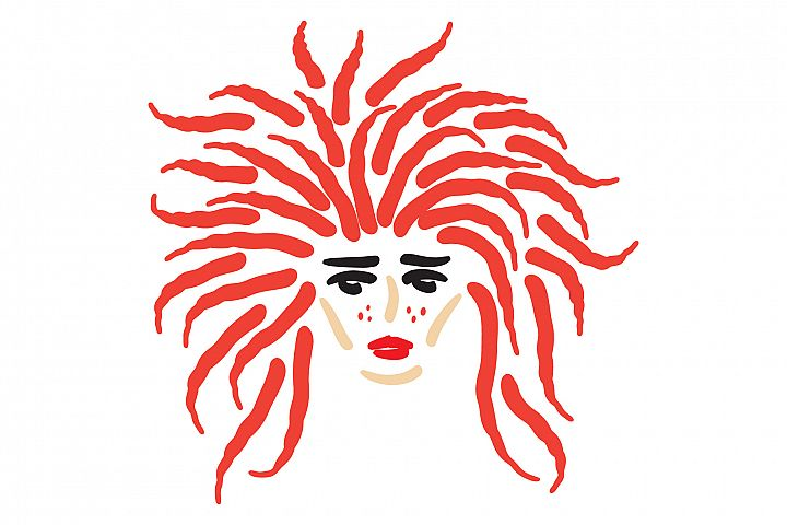 Girls face with curly red hair. Hand drawn vector illustrat
