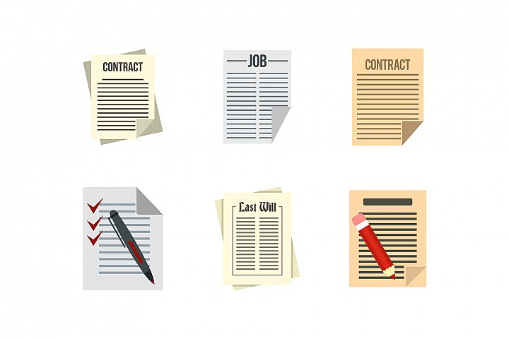Contract paper icon set, flat style