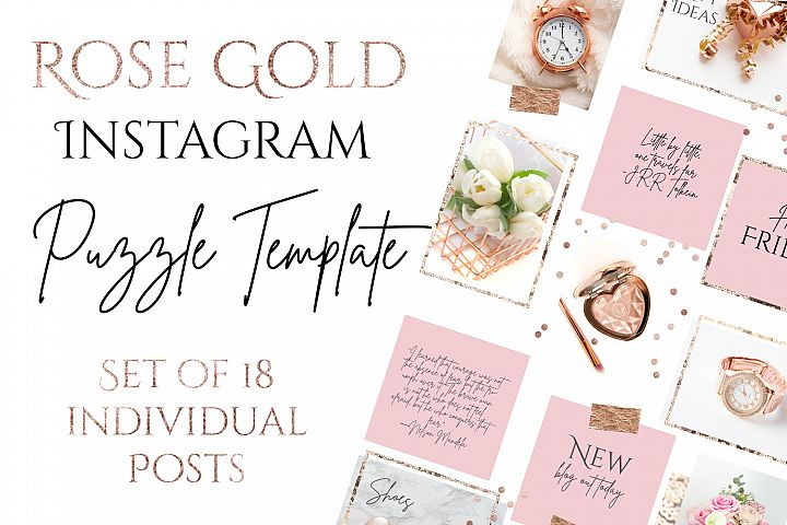 Rose Gold Instagram Puzzle Template - 15 Posts