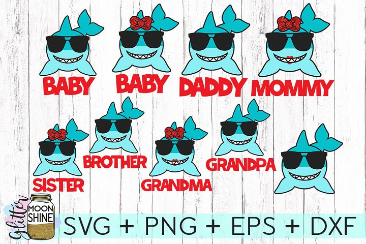 Shark Family Bundle Of 9 SVG DXF PNG EPS Cutting Files