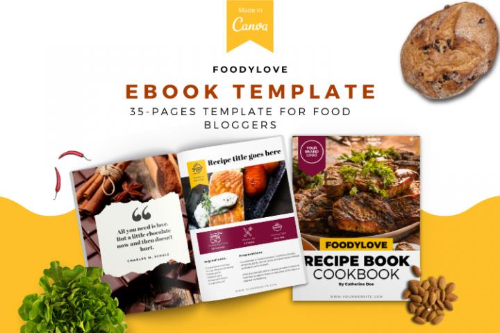 Food Lovers Recipe and Cookbook Canva Template Ebook