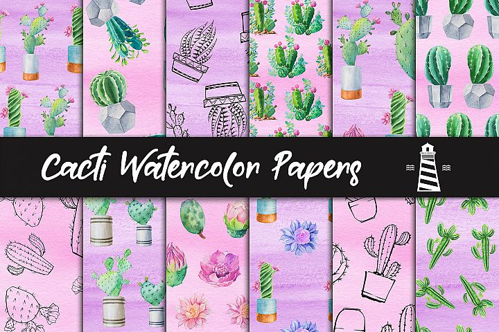 Cacti Watercolor Papers