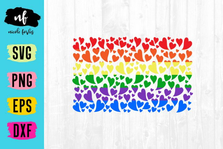 LGBTQ Pride Heart Flag SVG Cut File