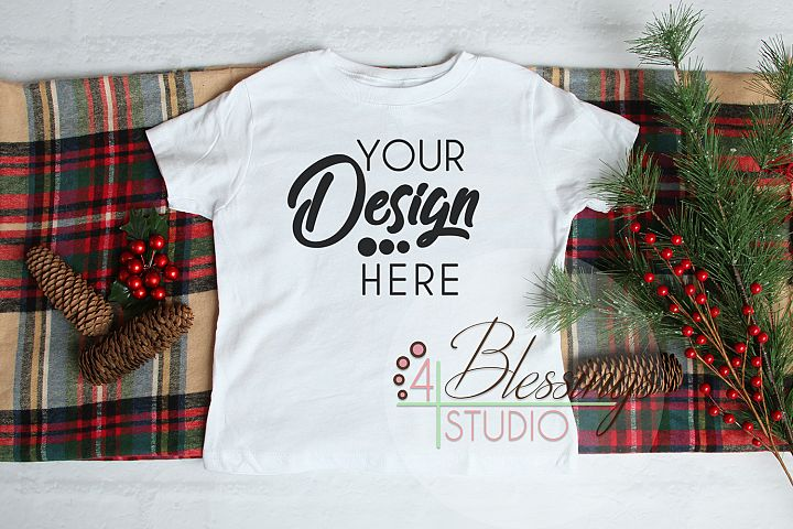 Christmas Kids Shirt Mockup White Toddler Childrens Flat Lay