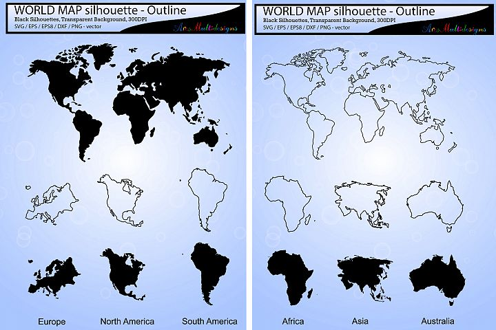 World map silhouette svg vector / world map outline  /Africa map / Asia map / australia map / Europe map / america map -SVG / EPS / PNG