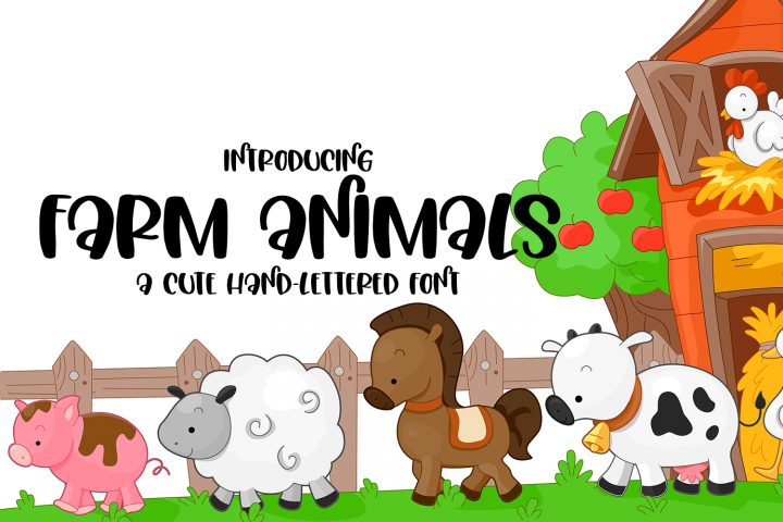 Farm Animals - A Cute Hand-Lettered Font