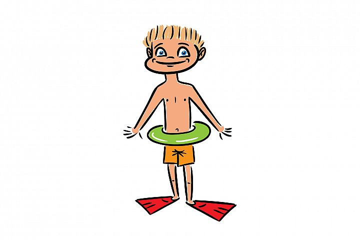 Cute little boy kid with green swimming circle.