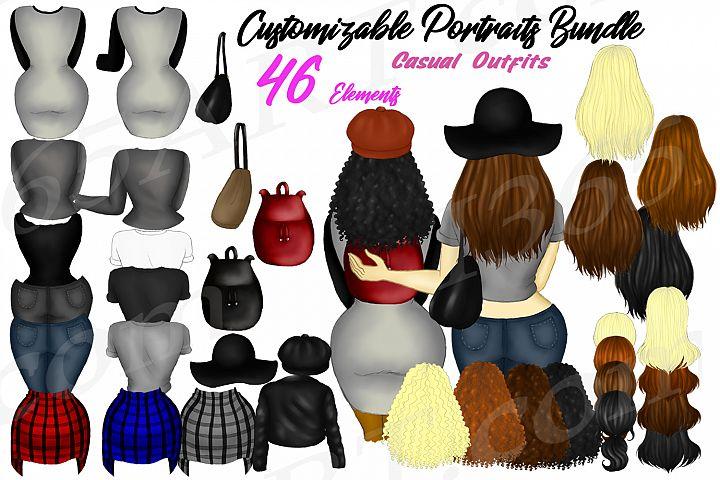 Custom Girls Clipart DIY Customizable Casual Fashion Builder