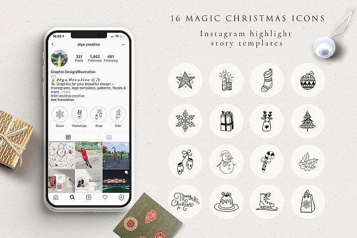 Xmas Instagram Highlight Story Icons EPS, SVG, PNG, PSD, JPG