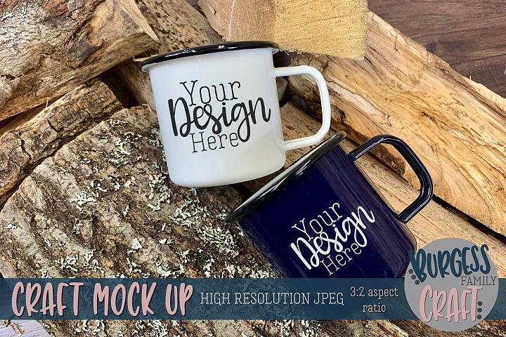 Two Camping mugs on firewood Craft mock up | High Res JPEG