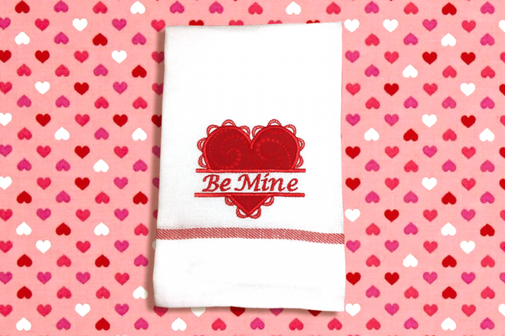 Lacy Valentines Day Heart Split Applique Embroidery