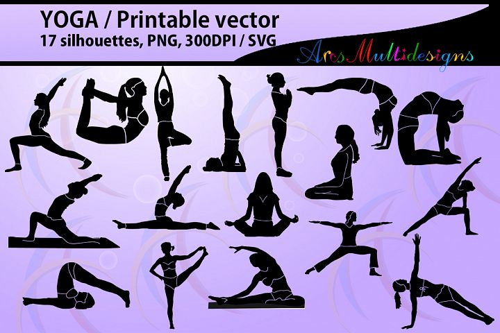 yoga shapes silhouette vector / Yoga / yoga svg  / printable yoga posture / High Quality / vector yoga png / exercise / exercise for health