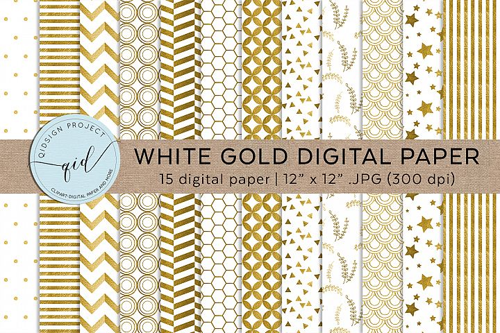 White and Gold Digital Pattern Paper JPG