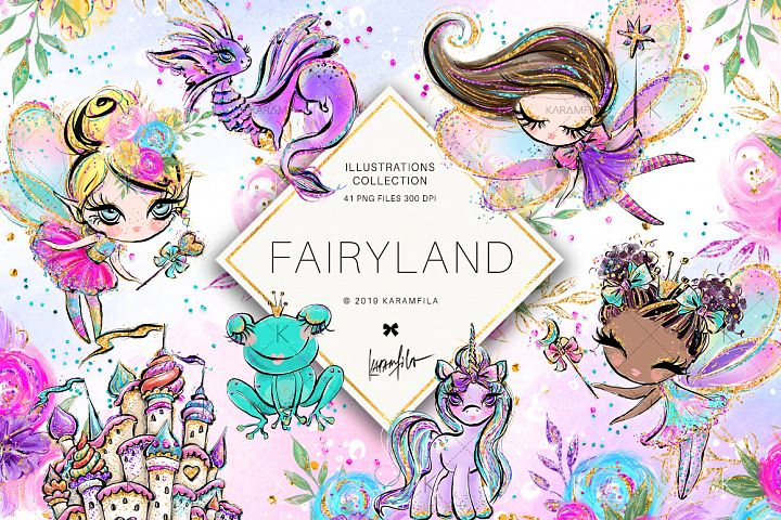 Fairy Clipart, Unicorn Dragon Frog Castle Clipart