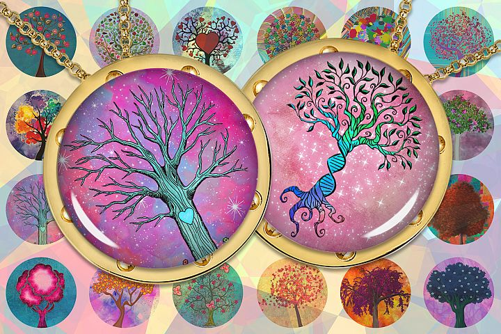 Tree of Life,Colorful Trees,Bottlecap Images for pendants