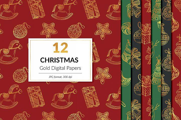 Golden Christmas Digital Paper, Winter Backgrounds