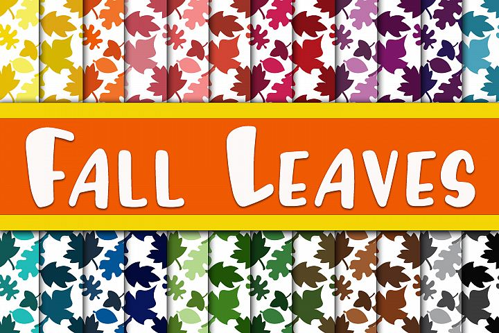 Fall Leaves Digital Paper - Autumn Backgrounds and Patterns