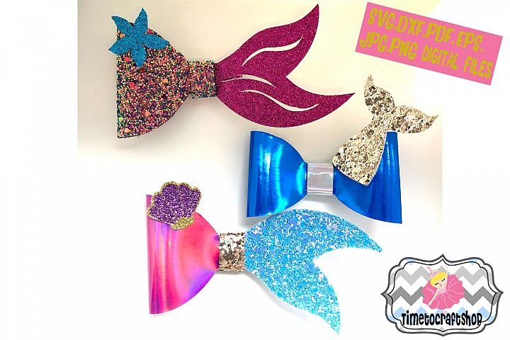 Mermaid Hair Bow Bundle Template. Svg. Dxf. Pdf. Eps. Jpg.