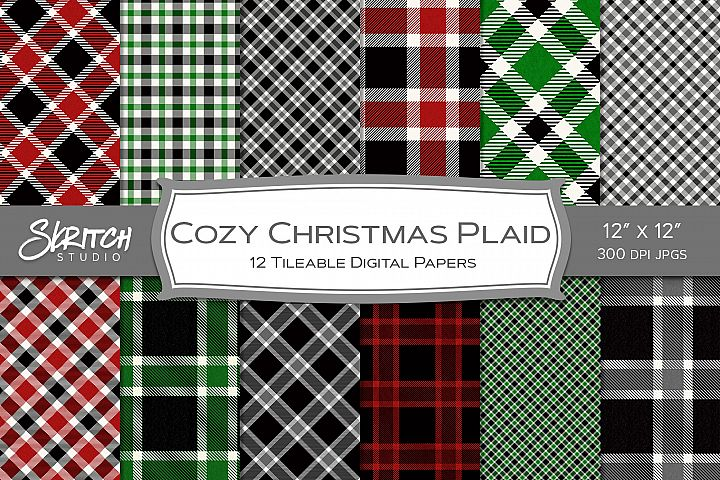 Cozy Christmas Plaid 12 Tileable Digital Papers