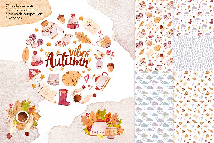 Autumn Vibes Watercolor Collection Clipart
