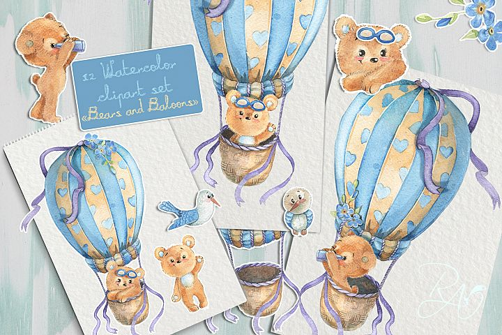 Clipart set watercolor bears with seagull hot air balloons
