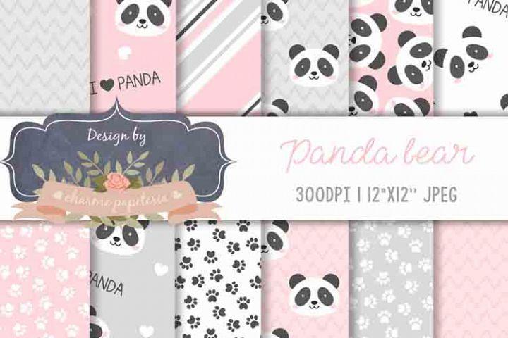 Panda Bear Baby Girl Baby Shower Pink and Black and Grey