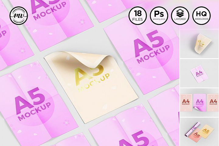 A4 - A5 Flyer, Paper Mockup V1