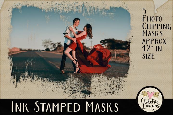 Ink Stamped Photoshop Clipping Masks & Tutorial