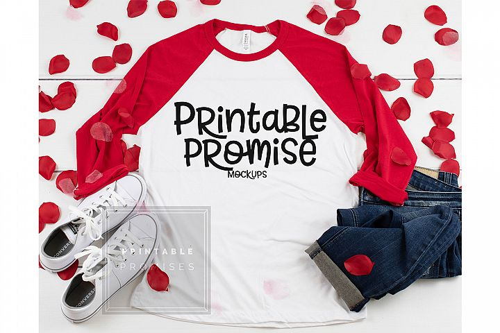 Bella Canvas 3200 White Red Raglan Valentines Shirt Mockup