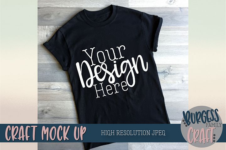 T-shirt craft mock up Angled black tee |High Resolution JPEG