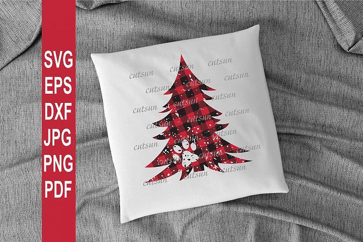 Christmas tree Plaid distressed SVG | Paw print svg
