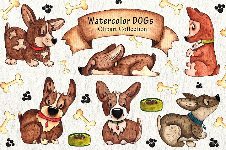 Watercolor DOGs Collection example