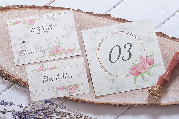 Tulip and Marble. Wedding invitation suite example image 3