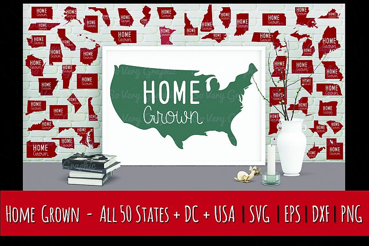 Home Grown USA Map | 50 States & DC | Cut SVG | Print PNG