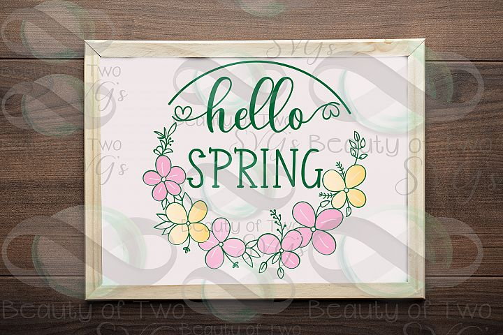 Hello Spring Wreath svg, Spring Flowers svg, Spring svg