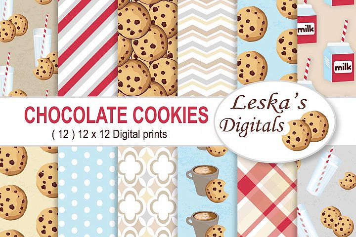 Milk and Cookies Digital Paper Patterns