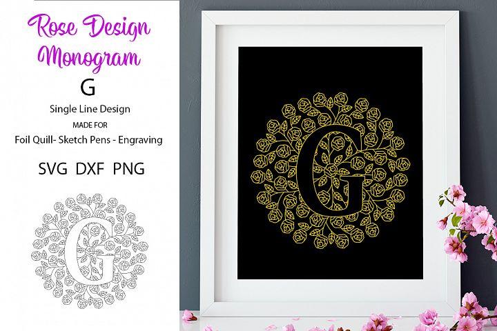 Rose Design Monogram G SVG for Foil Quill