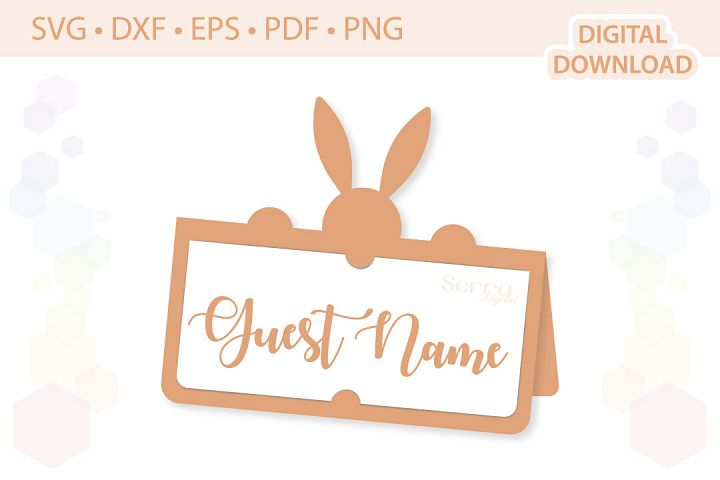 Bunny Place Card cut file SVG DXF EPS PDF PNG