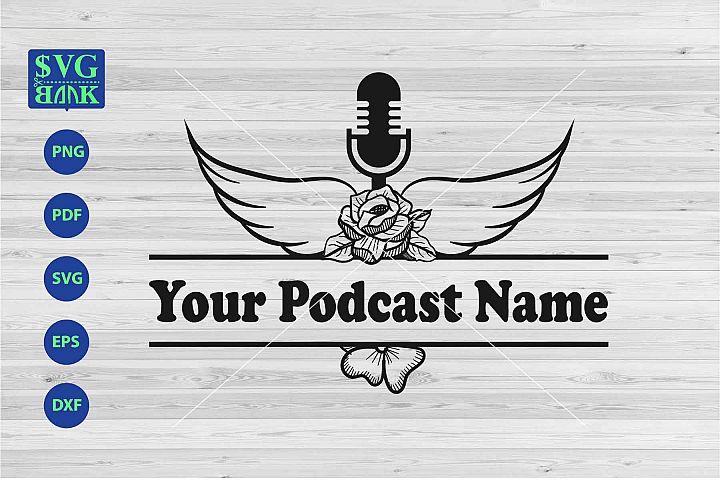 Podcast split monogram svg, podcast wings logo artwork
