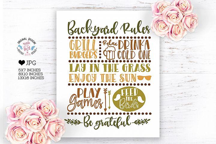 Backyard Rules Home Art Printable