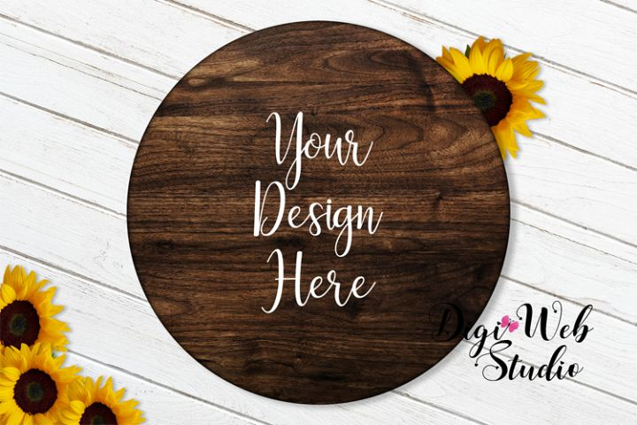 Flat Lay Wood Sign Mockup - Round Wood Sign w/ Sunflowers